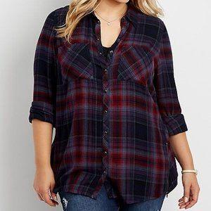Plus size button down plaid shirt w/zippers